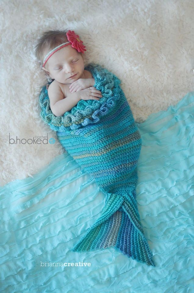 [Free Pattern] Baby Mermaid Crochet Cocoon, Tail And Headband