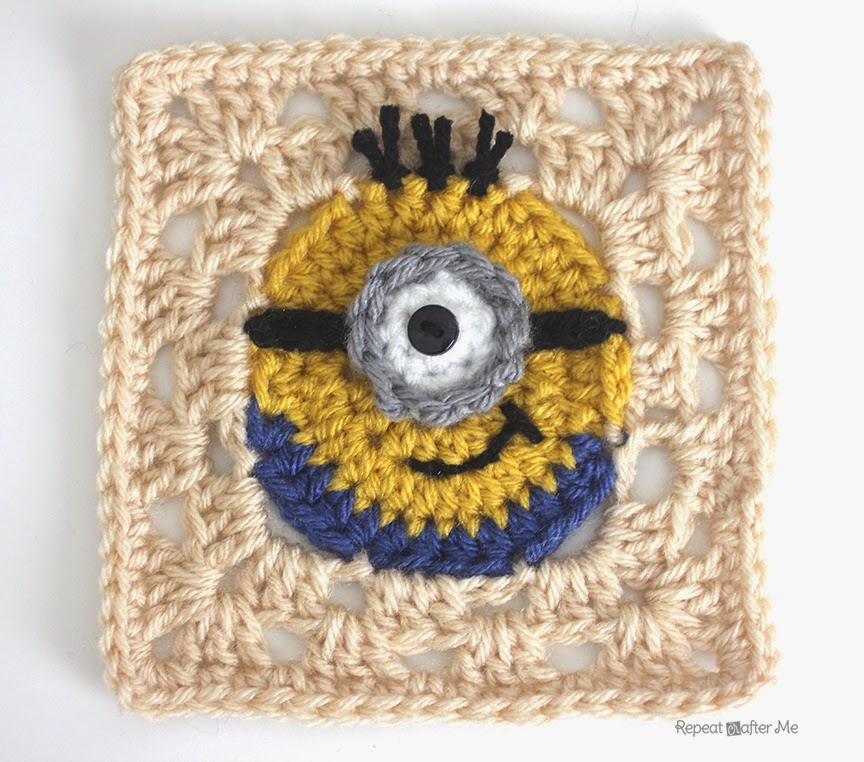 Free Knitting Patterns Baby Hat : [Free Pattern] Make Your Own Crochet Despicable Me Minion Granny Square - Kni...