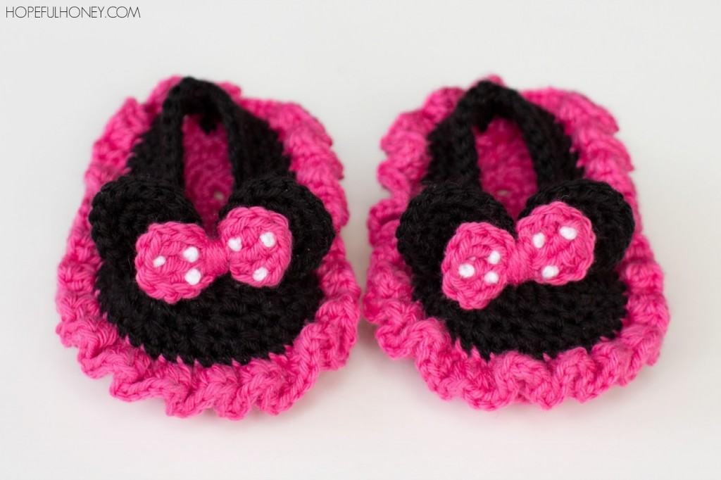 Minnie Mouse Inspired Baby Booties Crochet Pattern 6