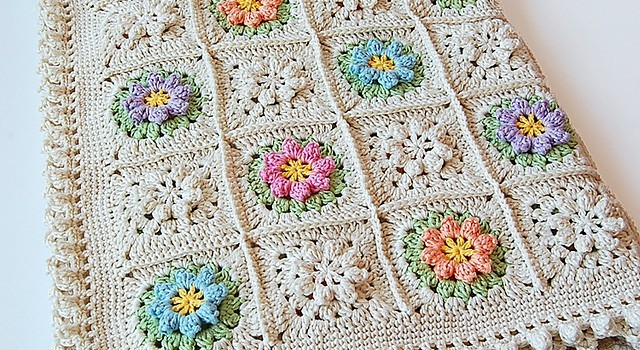 Free Pattern Spring Flowers Granny Square