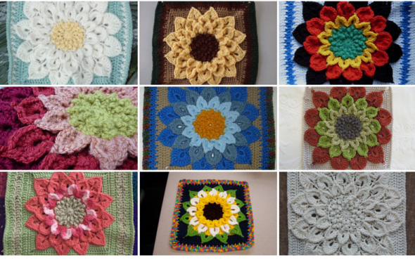 The Crocodile Flower Crochet Square