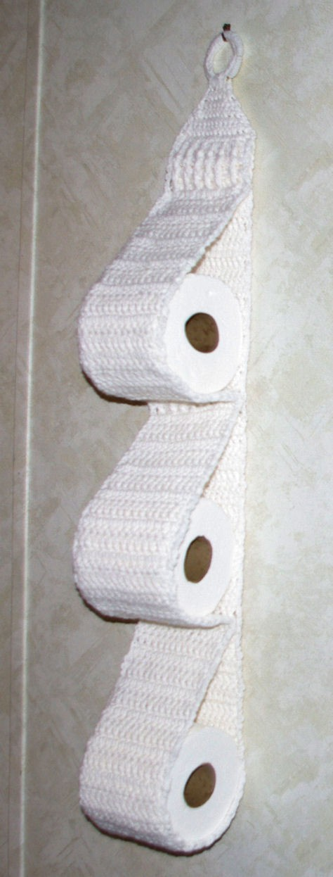 Knitting Pattern For Toilet Paper Holder : [Free Pattern] How To Crochet A Hanging Toilet Paper Holder - Knit And Croche...