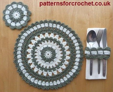 Free Pattern Crochet Pattern For Placemat Coaster Napkin Ring