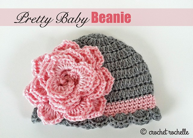 Free Crochet Patterns For Baby Toddler Hats : [Free Pattern] Pretty Crochet Baby Beanie With Flower