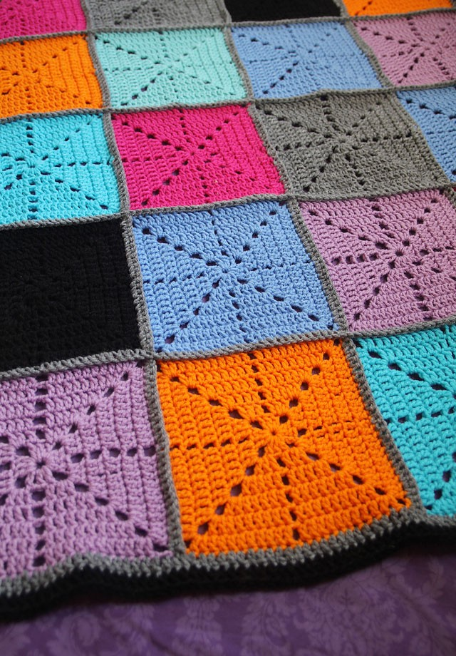 Free Pattern Simple Filet Crochet Starburst Square Afghan Knit