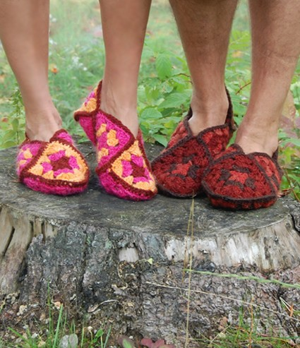 67bb66d7685 Free Pattern  Granny Square Crochet Slippers For Women And Men ...