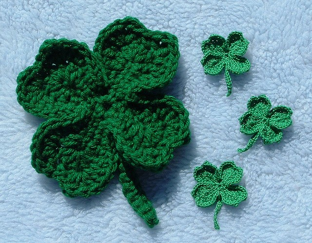 Free Crochet Patterns Four Leaf Clover : [Free Pattern] Lucky Clover Pin For St. Patricks Day ...