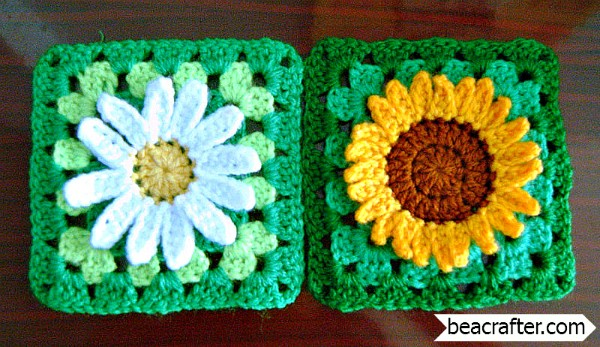 Free Patterns] Wildflower Granny Square: Sunflower And Wild