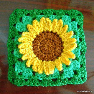 ... Square: Sunflower And Wild Daisy Flower - Knit And Crochet Daily