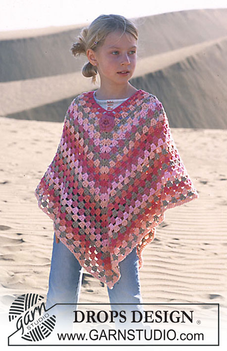 Crochet Poncho For Girls 5-14 Years Old