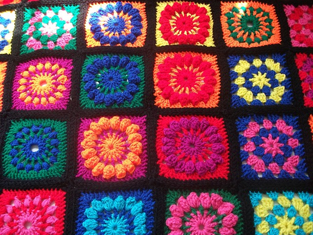 Granny Square Crocheted Afghan by Kathy Wilson