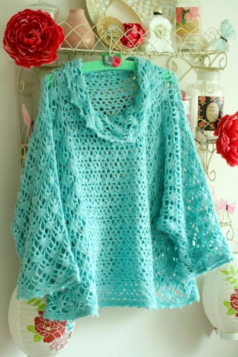 10 Easy Free Crochet Poncho Patterns For Beginners-Crochet Poncho Sweater With Cowl Neck
