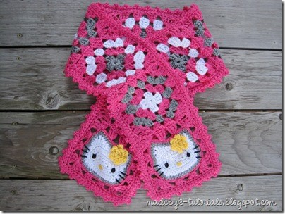 Free Pattern Crocheted Hello Kitty Granny Square Scarf