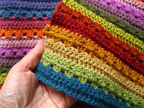 [Free Pattern] 6 Blocks Of 15 Colours Make A Beautiful Cosy Stripe Blanket