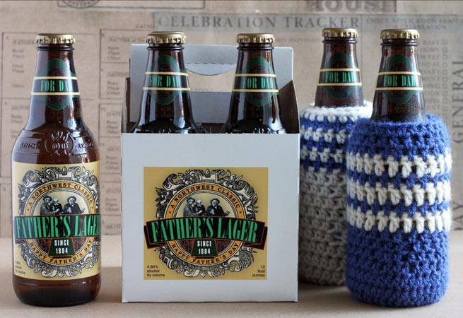 Free Pattern Happy Father S Day Beer Cozy Knit And
