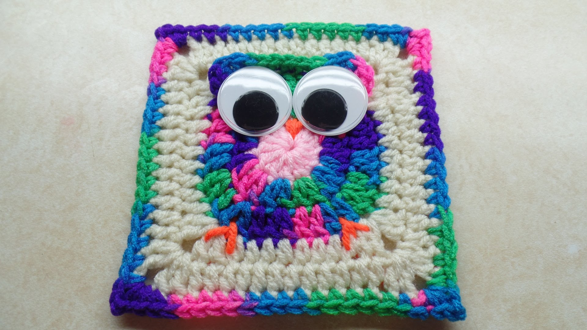 Video Tutorial] Cute Owl Granny Square With Big Googly Eyes - Knit ...