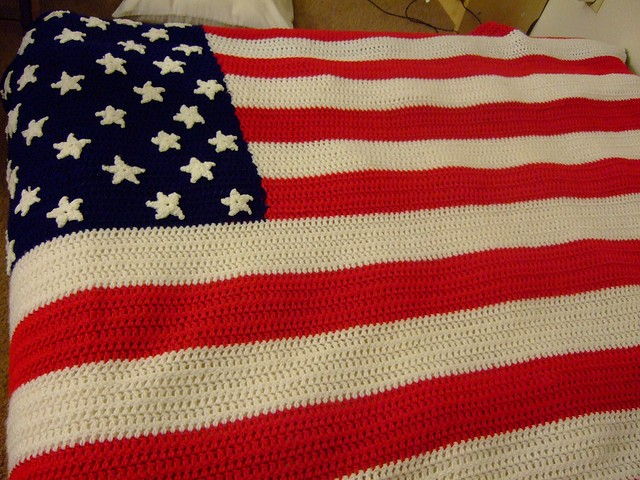 Crochet an American Flag Afghan or an American Flag Fridgie