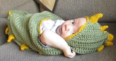 Free Pattern Comfort Your Baby With This Adorable Dino Baby Hooded