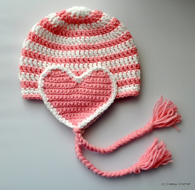 Free Pattern Quick And Easy Striped Heart Earflap Hat