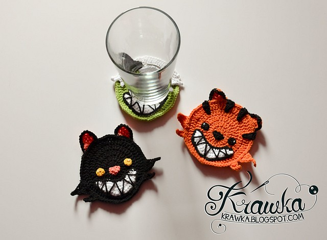 Halloween Coaster - Pumpkin Cat by Kamila Krawka Krawczyk