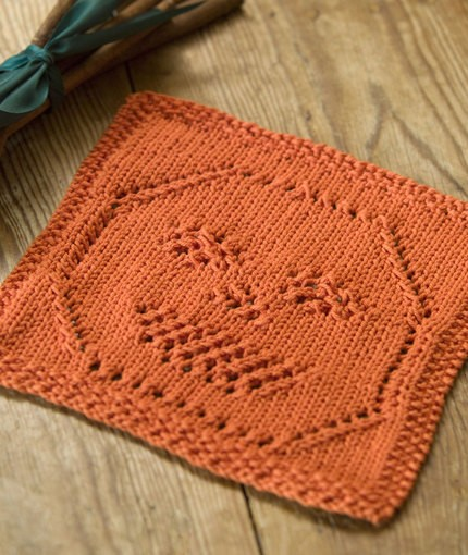 Jack'o Lantern Dishcloth knitted