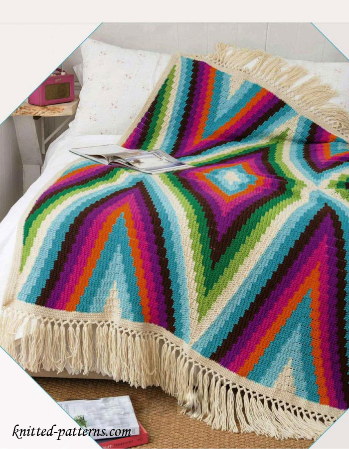 [Paid Pattern] This Gorgeous Bohemian Blanket Is Crocheted In 7 Pieces. Take ...