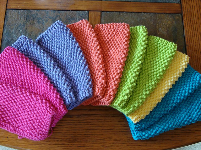 Simple Dishcloth Knitting Pattern : [Free Pattern] Lovely, Colorful Dishcloths! - Knit And ...