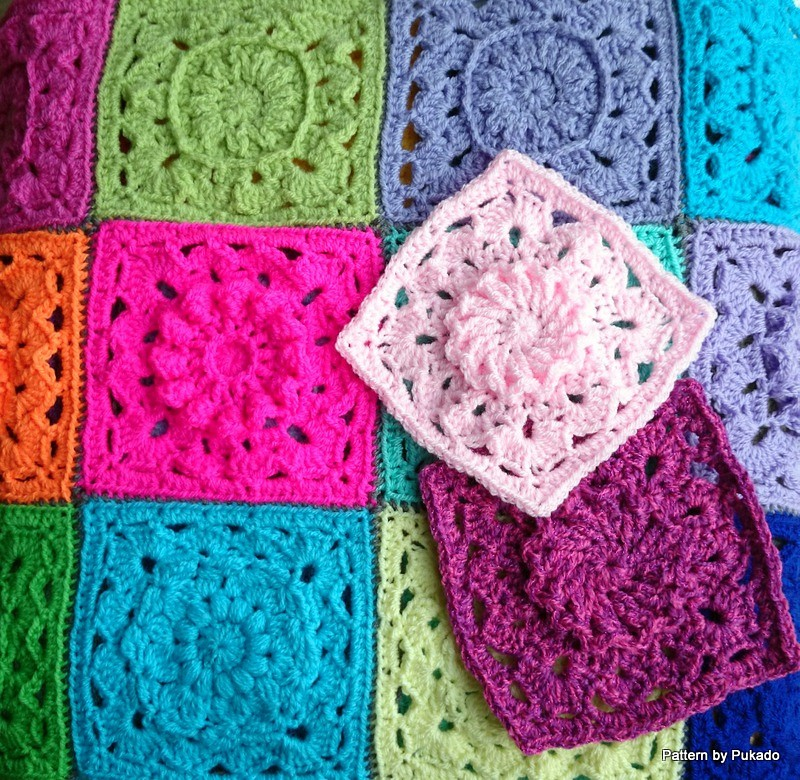 Crochet Mood Blanket - April Square by Pukado by Patricia Stuart