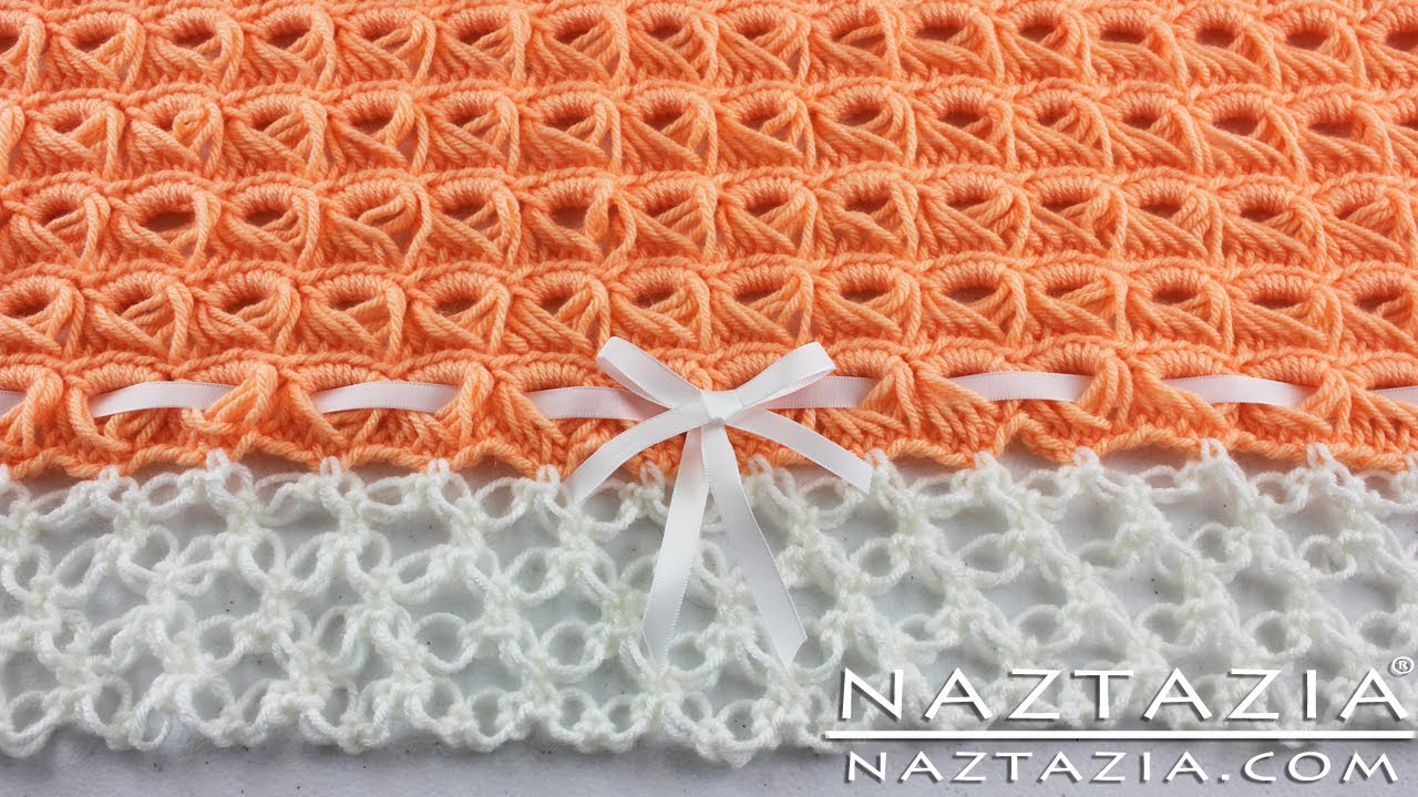 Crochet Baby Blanket Lace Pattern : [Video Tutorial] Beautiful Broomstick Lace Blanket With A ...