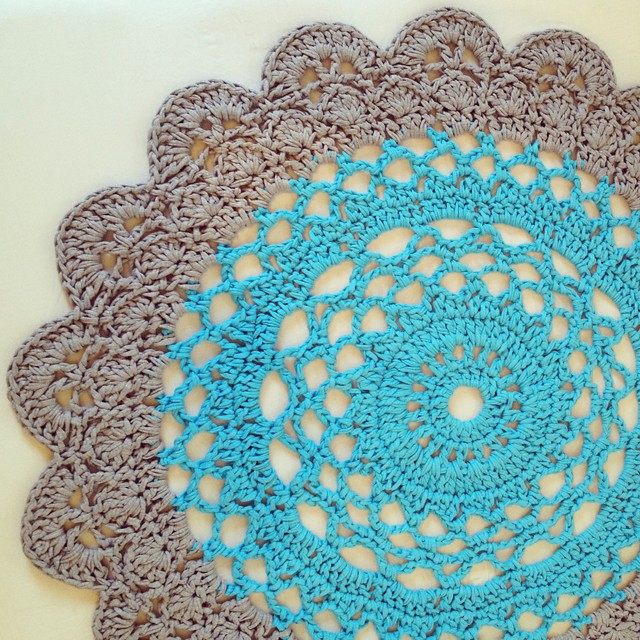 Crocheted Giant Doily Rug In Two Colors