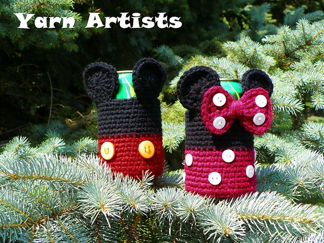 Mickey and Minnie Mouse Inspired Can Cozy by Yarn Artists
