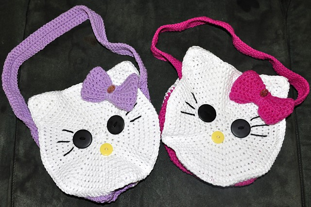 Round Kitty Face Bag by 5packs Crochet