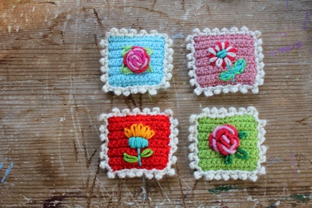 crochet postage stamps