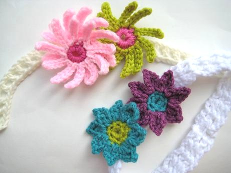 Free Pattern Precious Little Baby Headbands With Flowers Knit And