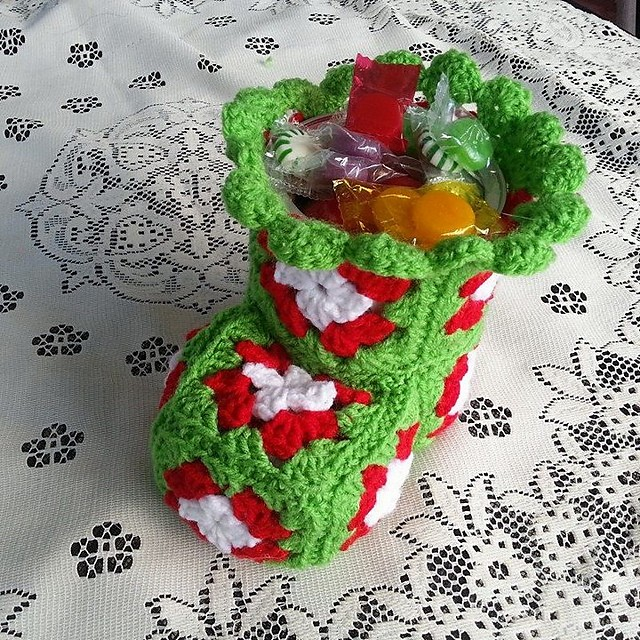 [Free Pattern] Cute Crochet Christmas Bootie Candy Dish To Be Filled With Christmas Treats