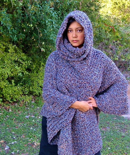 Cowl Hooded Capelet Poncho by Celina Lane