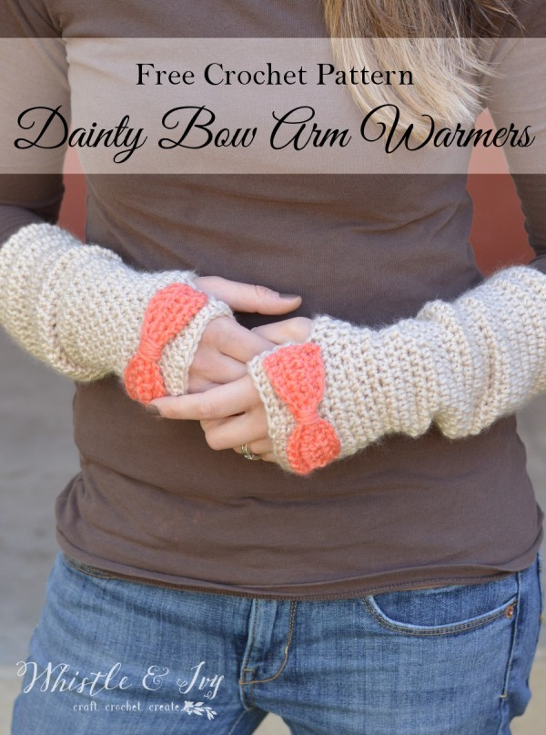 [Free Pattern] Pretty And Cozy Dainty Bow Crochet Arm Warmers