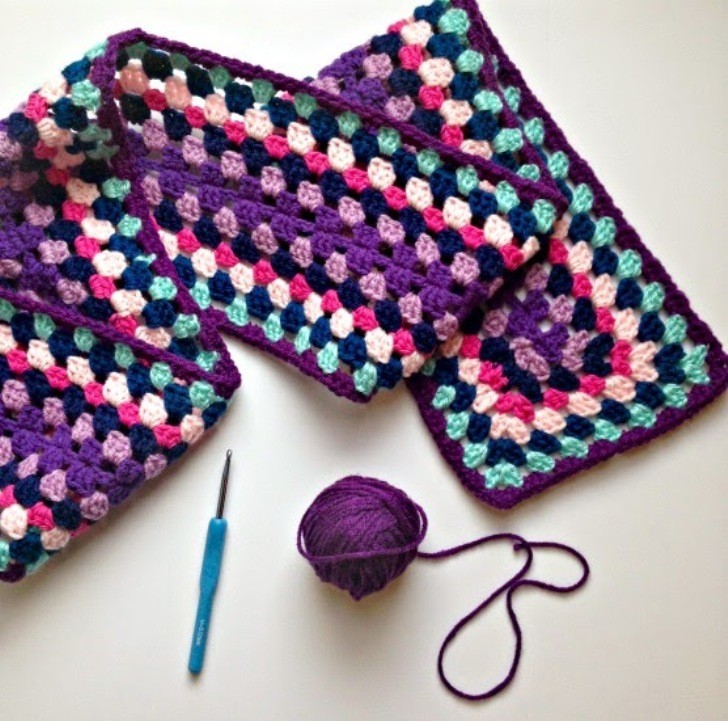 Fabulous Colorful Granny Square Scarf And Nothing To Sew!