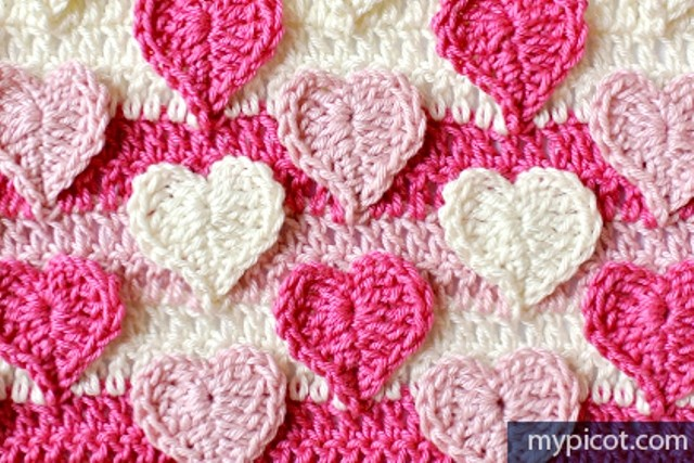 Hearts multicolored crochet stitch pattern