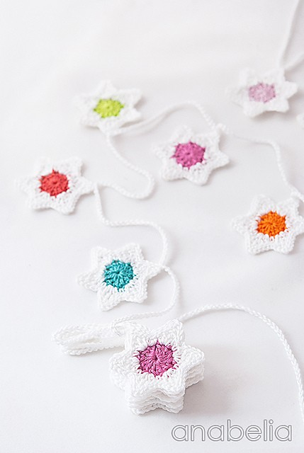 Six-pointed stars crochet garland free pattern by Anabelia 11