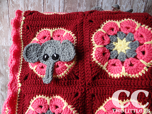 [Free Pattern]Super-Cute And Super-Easy Elephant Square And African Flower Blanket