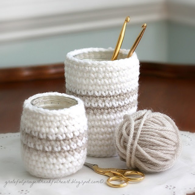 crochet glass jar cozy cozies