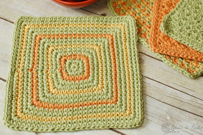 [Free Pattern] Add Charm To Your Kitchen With This Cheerful Dishcloth Pattern With A Neat Geometric Design
