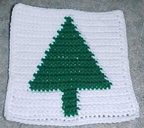 CHRISTMAS TREE AFGHAN SQUARE Crochet Pattern