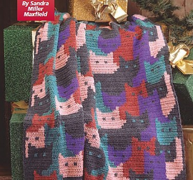 Free Pattern This Cats Afghan Is Absolutely Fabulous Knit And