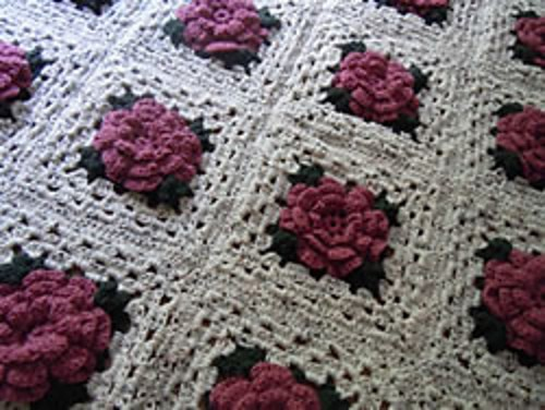 Rose Granny Square Afghan by Craft Elf