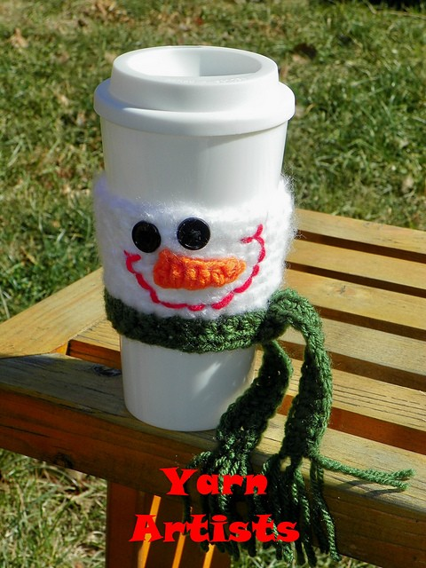 Snowman Cup Cozy by Yarn Artists