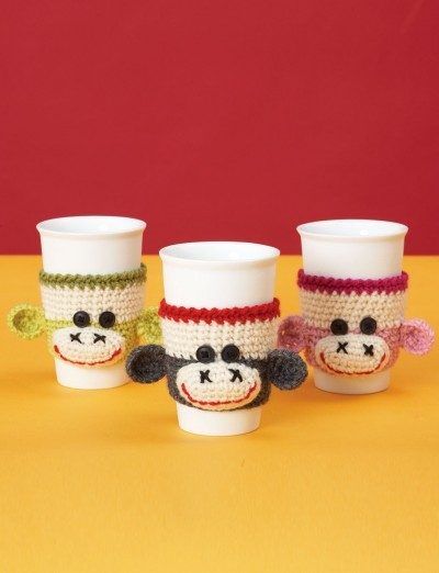 Sock Monkey Cup Cozy by Patons