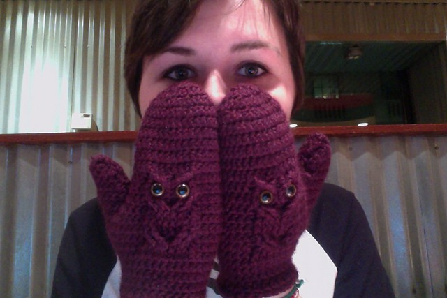 Hooked On Owls - Fingerless gloves and mittens by Jessica Spencer