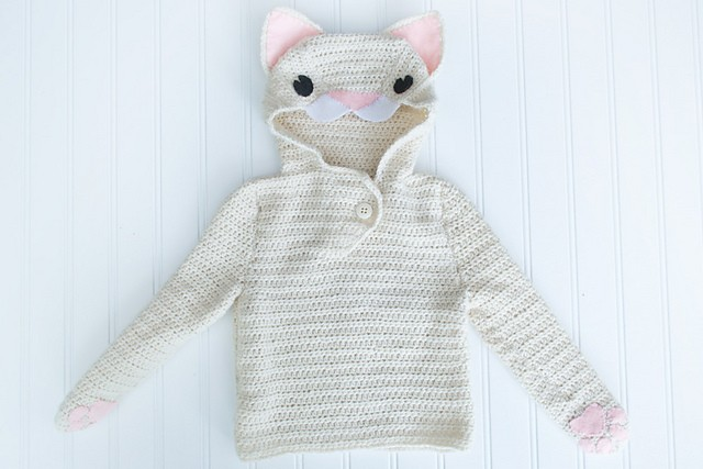 [Free Crochet And Knitting Patterns] Adorable Cat Hoodie